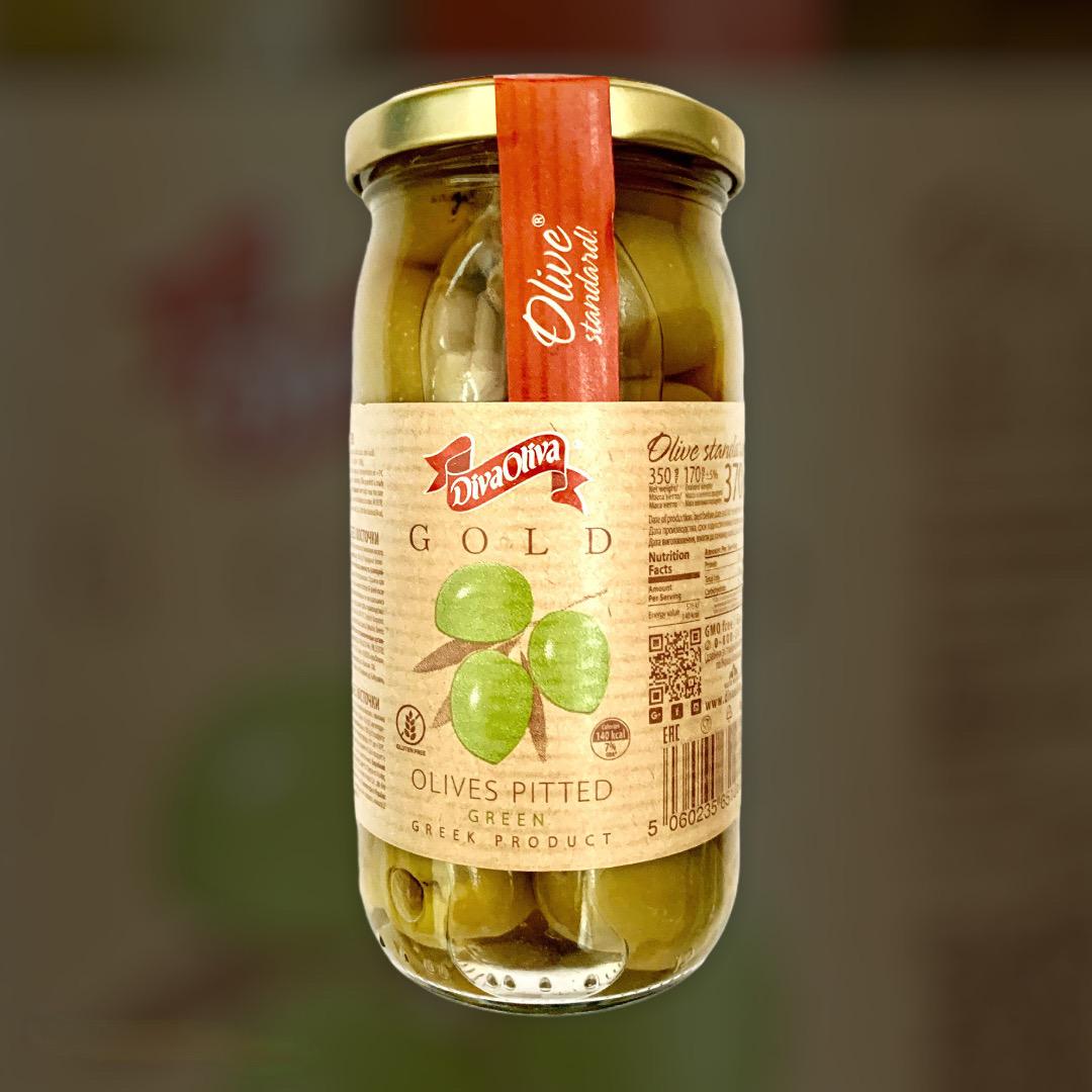 Оливки Diva Oliva с косточкой, зеленые 350 г
