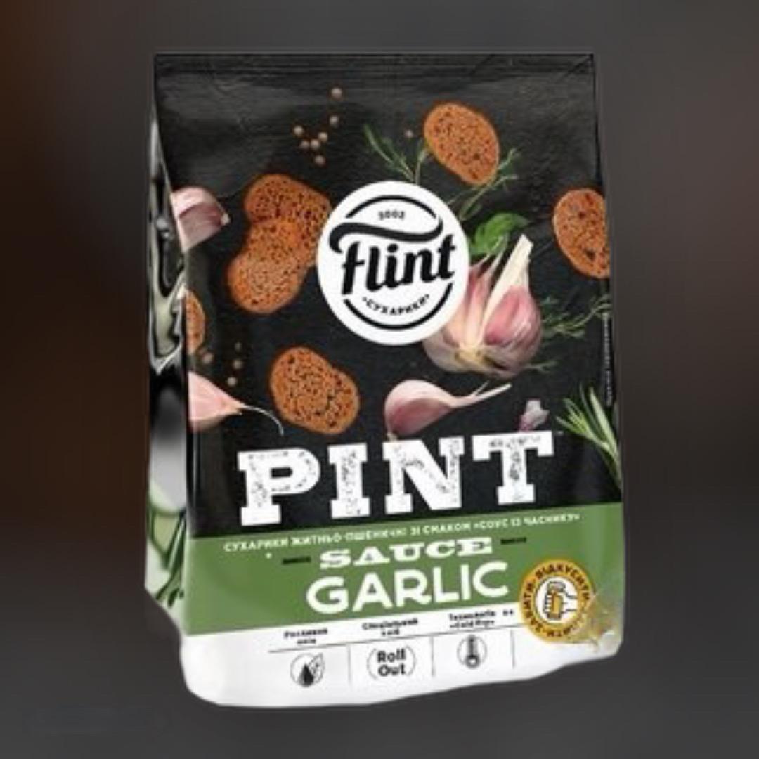Сухарики Flint пшенично-ржаные чесночный соус 110 г