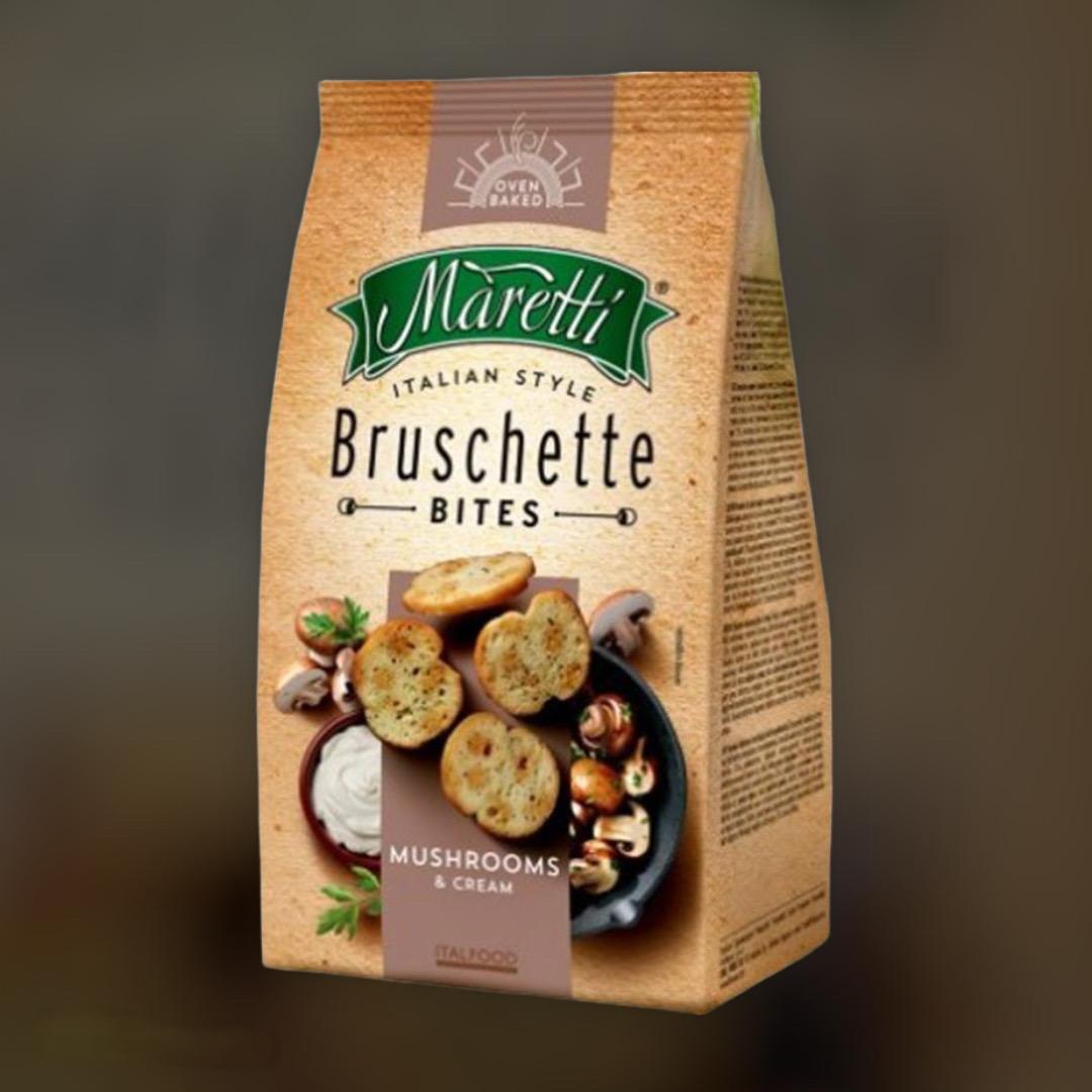 Печеные хлебные брускеты Maretti Bruschette сливочно-грибным вкусом 70 г
